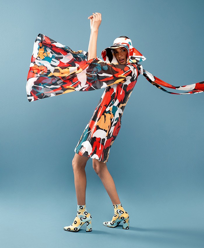Abstract Dress and Hat Set